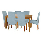 more details on Lincoln Oak Effect 150cm Dining Table and 6 Duck Egg Chairs.