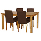 more details on Ashdon Oak Stain 120cm Table & 4 Chocolate Mid Back Chairs.