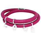 more details on Dark Pink 2 Row Cord Carrier Bracelet with Silver Charms.