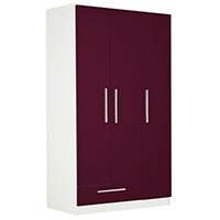 Sparkle 3 Door 1 Drawer Wardrobe (Plum/White/Black)