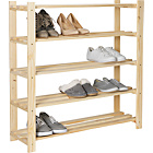 more details on HOME 5-Tier Part-Assembled Shoe Rack - Solid Unfinished Pine