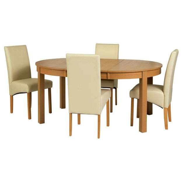 Argos Round Garden Table And Chairs: Buy Collection Massey Dining Table & 4 Chairs-Wood Effect