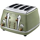 more details on De'Longhi CTOV4003.GR Vintage Icona 4-Slice Toaster - Olive.