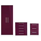 more details on Sparkle 3 Piece 2 Door Wardrobe Package - Plum.