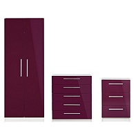 Collection Sparkle 3 Piece 2 Door Wardrobe (Plum)