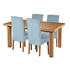 more details on Cosgrove Ext Oak Stain Dining Table & 4 Duck Egg Chairs.