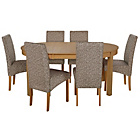 more details on Massey Wood Effect Extendable Table and 6 Floral Chairs.
