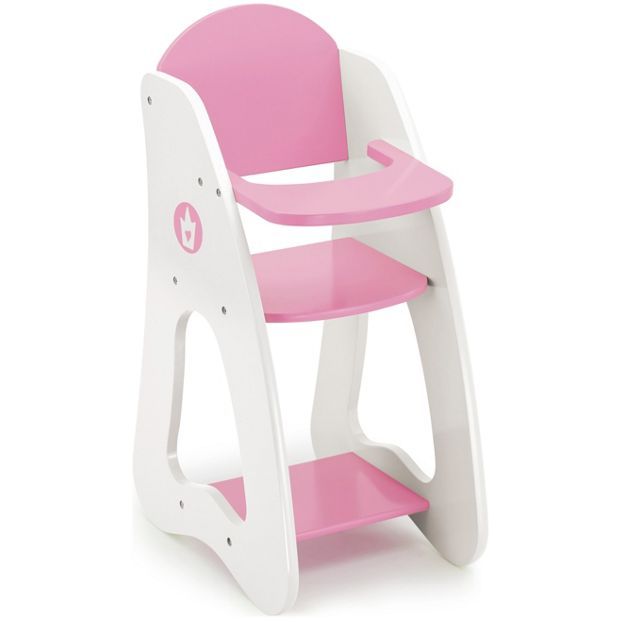 Buy bayer dolls highchair pink and white at for Chaise haute pour poupon