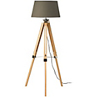 more details on Tripod Floor Lamp with Grey Shade and Wood Base.