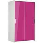 more details on New Sywell 2 Door Sliding Wardrobe - White & Pink Gloss.