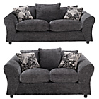 more details on HOME New Clara Large and Regular Fabric Sofa - Charcoal.