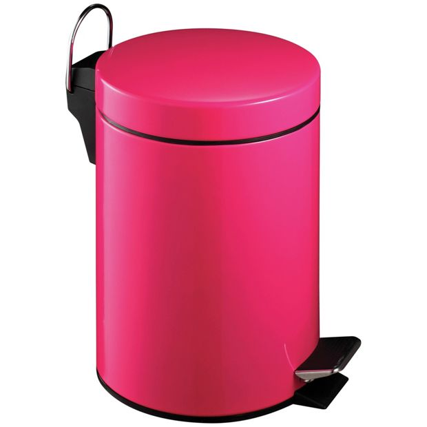 Buy premier housewares 3 litre hot pink pedal bin at argos for Pink bathroom bin