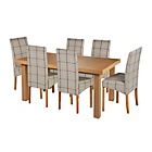 more details on Cosgrove Ext Oak Stain Dining Table & 6 Check Chairs.