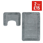 more details on Striped Bath and Pedestal Mat Set - Grey.