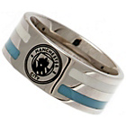 more details on Stainless Steel Man City Striped Ring - Size X.