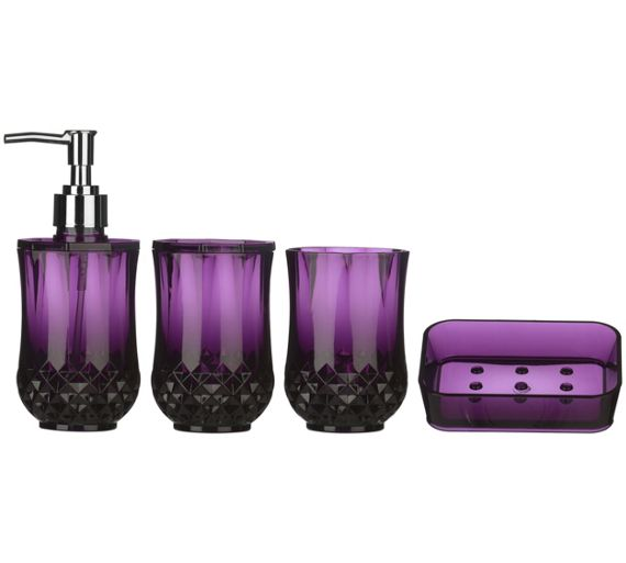 Buy premier housewares cristallo purple plastic bathroom for Bathroom accessories argos
