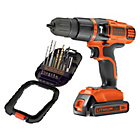 more details on Black & Decker 18V Hammer Drill and 16 Piece Accessory Set.