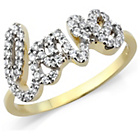 more details on Gold Plated Stone Set Ladies 'Love' Ring - T.
