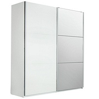 Hygena Bergen 2 Door Large Mirrored Sliding Wardrobe (White)