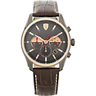more details on Scuderia Ferrari Mens' GTB-C Steel Brown Leather Strap Watch