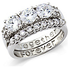 more details on Sterling Silver Ladies 'Together Forever' Ring Set - P.