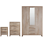 more details on Washington 3 Piece 3 Door Wardrobe Package - Smokey Oak.