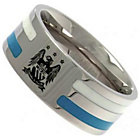 more details on Stainless Steel Man City Striped Ring.