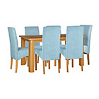 more details on Stonebury Oak Stain Table and 6 Duck Egg Skirted Chairs.