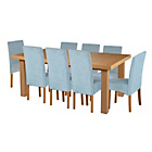 more details on Cosgrove Ext Oak Stain Dining Table & 8 Duck Egg Chairs.