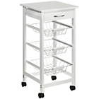 more details on Kitchen Trolley Wire Basket White Drawer.