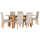 more details on Heart of House Hastings Ext Table & 6 Checked Skirted Chairs