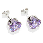 more details on Sterling Silver Lilac Cubic Zirconia Stud Earrings - 8mm.