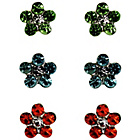 more details on Link Up S.Silver Orange, Green, Blue Flower Studs - 3.