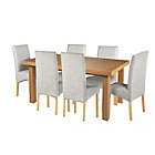 more details on Cosgrove Ext Oak Stain Dining Table & 6 Grey Chairs.