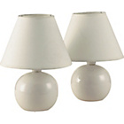 more details on Simple Value Pair of Bedside Lamps - Cream.