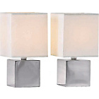 more details on Living Pair of Satin Silver Finish Cube Touch Table Lamps.