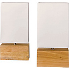 more details on HOME Pair of Light Wood Finish Table Lamps - Cream.