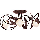 more details on Elana Semi Flush 3 Light Ceiling Fitting - Chocolate.