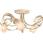 more details on Living Elana Cream/Brushed Gold 3 Light Semi Flush Fitting.