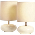 more details on ColourMatch Pair of Ceramic Pebble Table Lamps - Cream.