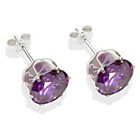 more details on Sterling Silver Amethyst Cubic Ziconia Stud Earrings - 8MM.