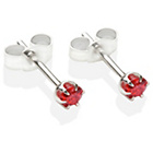 more details on Sterling Silver Red Cubic Ziconia Stud Earrings - 3MM