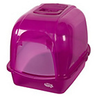 more details on Pet Brand Oval Cat Litter Tray with Hood - Translucent Pink.