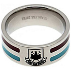 more details on Stainless Steel West Ham Striped Ring - Size U.