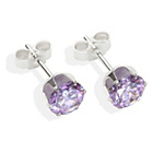 more details on Sterling Silver Lilac Cubic Ziconia Stud Earrings - 6MM