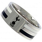 more details on Stainless Steel Tottenham Hotspur Striped Ring - Size U.