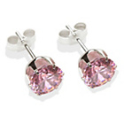more details on Sterling Silver Pink Cubic Ziconia Stud Earrings - 7MM
