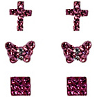 more details on Link Up Sterling Silver Rose, Cross, Butterfly Studs - 3.