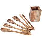 more details on Acacia 5 Piece Kitchen Tool Set in Wooden Holder.