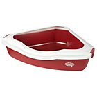 more details on Pet Brands Corner Cat Litter Tray with Rim - Red.